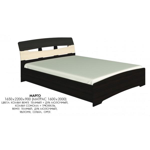 Двуспальная кровать Марго Венге темный + Дуб молочный