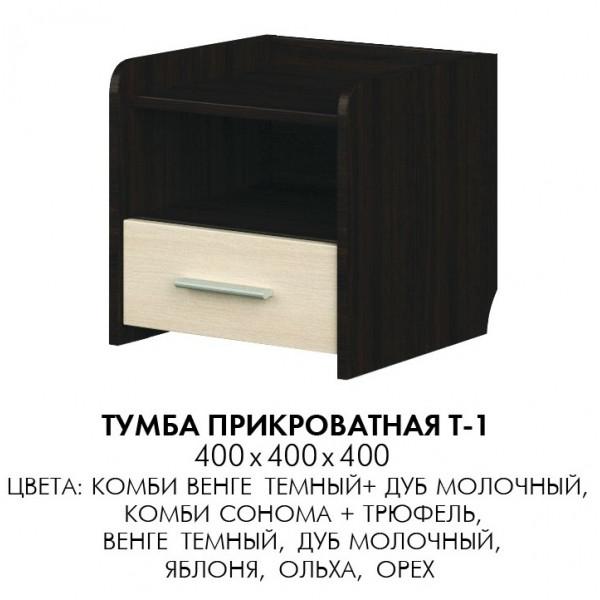 Тумба прикроватная Т-1 Венге темный + Дуб молочный